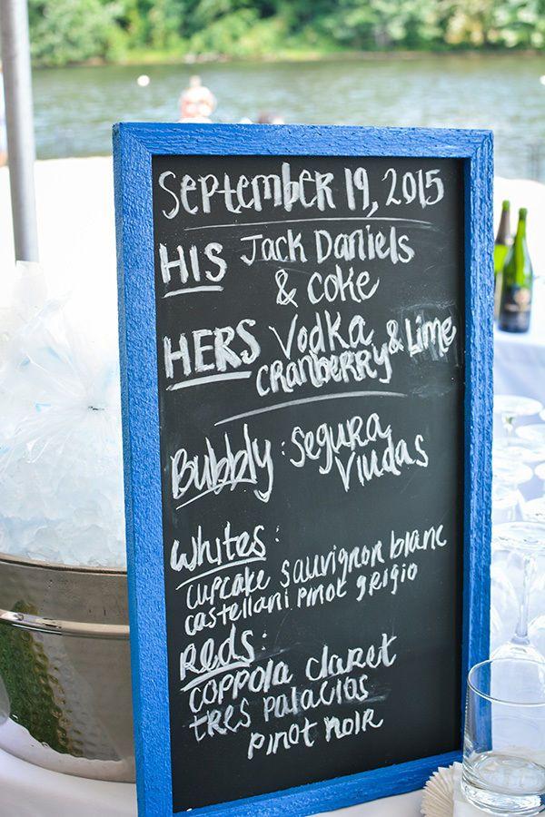 A Chalkboard Wedding Cocktail Bar Sign With Cobalt Blue Wooden Frame