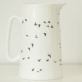 One of my newest designs - a jug with black print of birds, comes both in 1 liter and 1/2 liter. Designed by Photographer Pernille Westh