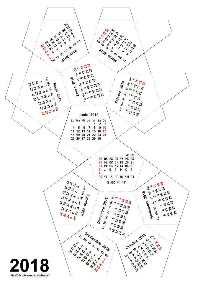 Un calendario dodecaédrico para 2018 |