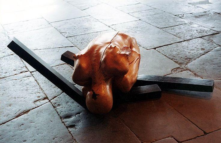 jerzy fober, upadły anioł, 1993, drewno