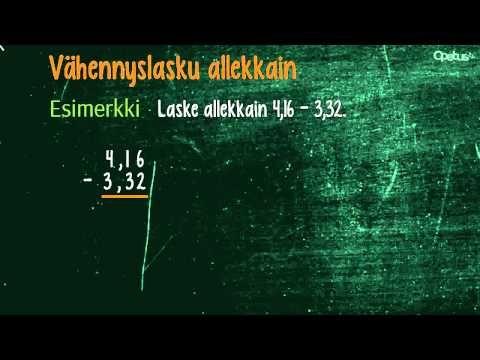Desimaaliluvuilla laskeminen ilman laskinta | Opetus.tv (neljä videota 1:41-3:58).