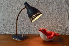 Lampe de bureau années soixante gris noir et doré vintage abat