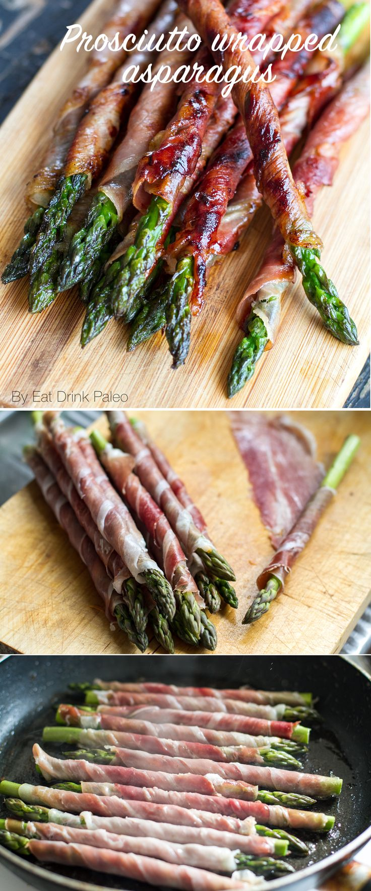 Prosciutto Wrapped Asparagus - simple and perfect for entertaining or as a appetizer. Check the full instructions and recipe here:http://eatdrinkpaleo.com.au/prosciutto-wrapped-asparagus-recipe/