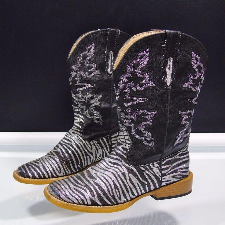 Roper Kids Girls Western Boots Zebra Glitter Size 3 Black Silver  #Roper #Boots #any