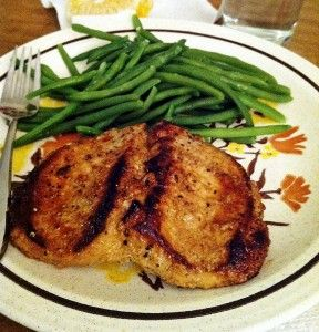 Mustard Marinated Pork Chops. Big, fat Costco chops need 7 mins per side. The foil doming made these so moist.