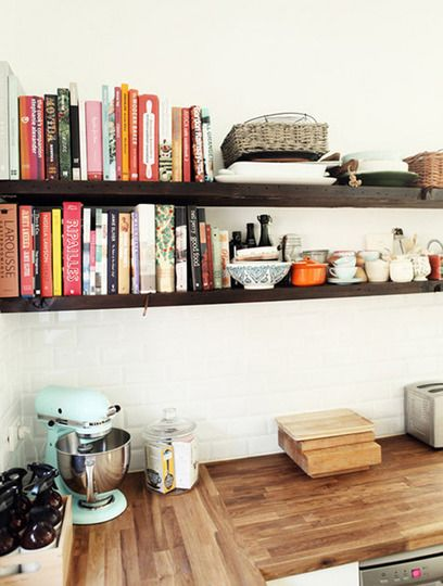 Tons of cookbooks and butcher block counter.: Kitchens Shelves, Open Shelves, Kitchen Shelves, Cookbook, Kitchens Counter, Wood Shelves, Wood Countertops, Open Kitchens, Butcher Blocks Counter