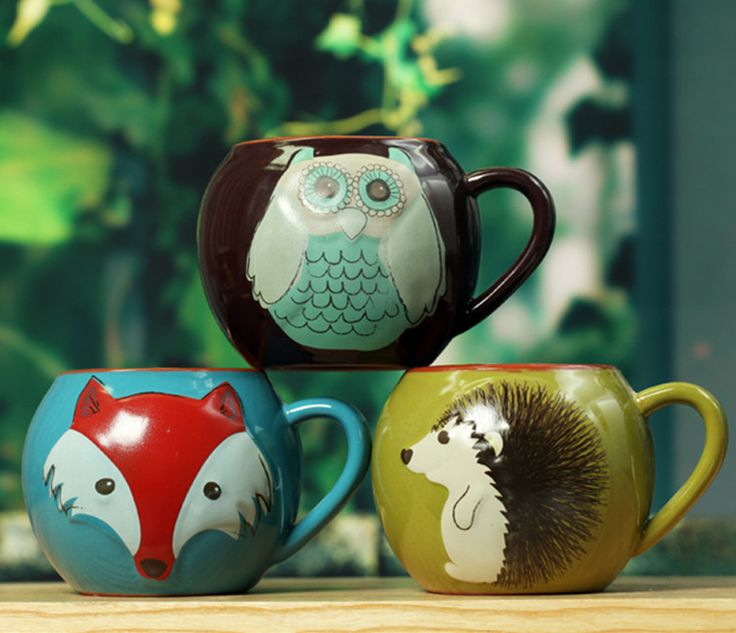 Wholesale creative lovely big ceramic breakfast cup mug hand-painted coffee milk tea mugs colorful animal Owl fox Hedgehog ball