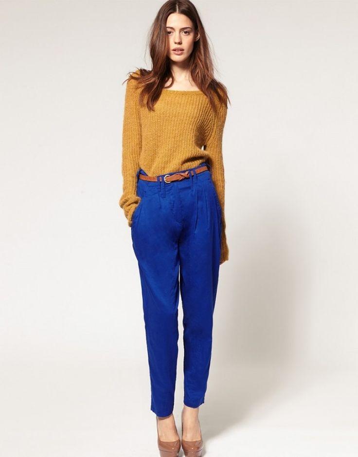pantalon azul electrico mujer