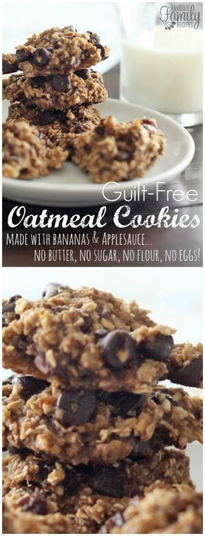 Guilt Free Oatmeal Cookies are made without butter, added sugar, flour, or eggs.  I love that they are naturally gluten free and so yummy! via @favfamilyrecipz