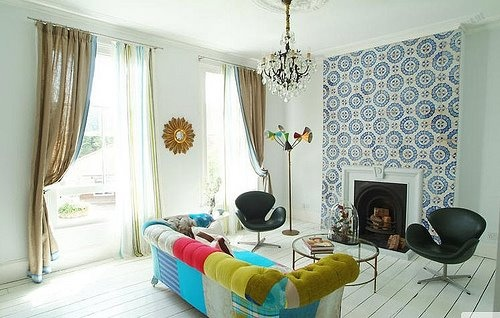 fireplace in patterned wall