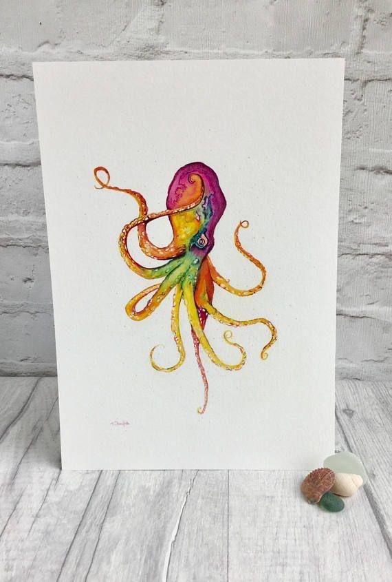 Octopus fine art print by artist Teresa Staniforth #kraken #octopus #fineartprint
