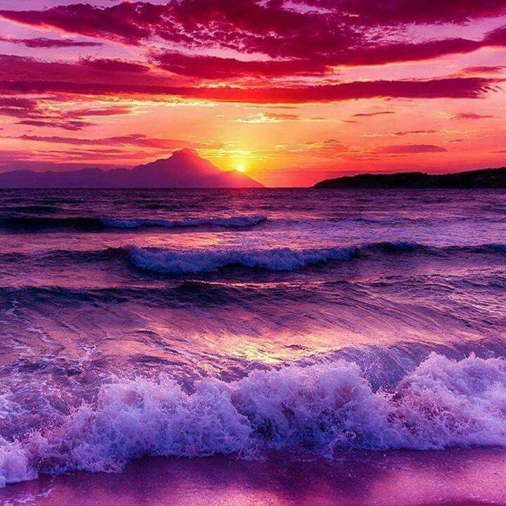 Beautiful hies of waves as the sun sets