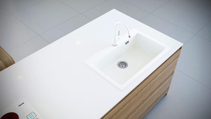 Chiuveta Granit Schock Primus N-100XL Alpina 790 x 500 mm.  Alpina: Cu aspect semi-mat, aceasta nuanta de alb este eleganta, calda si confera prospetime spatiului. Finisajul catifelat si suav aminteste de florile de colt, la fel de pretioase ca si acest material.
