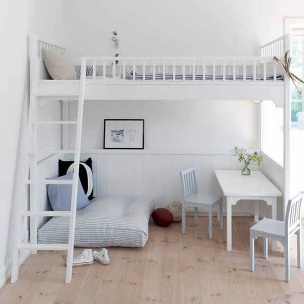loft bed, awesome idea for Taylors room. Space saver and it looks gorgeous.