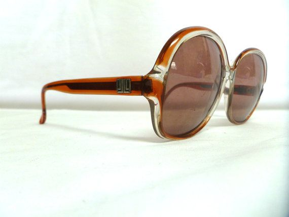 Vintage Lanvin Oversized Round RedOrange Clear by Vielkas on Etsy, $70.00