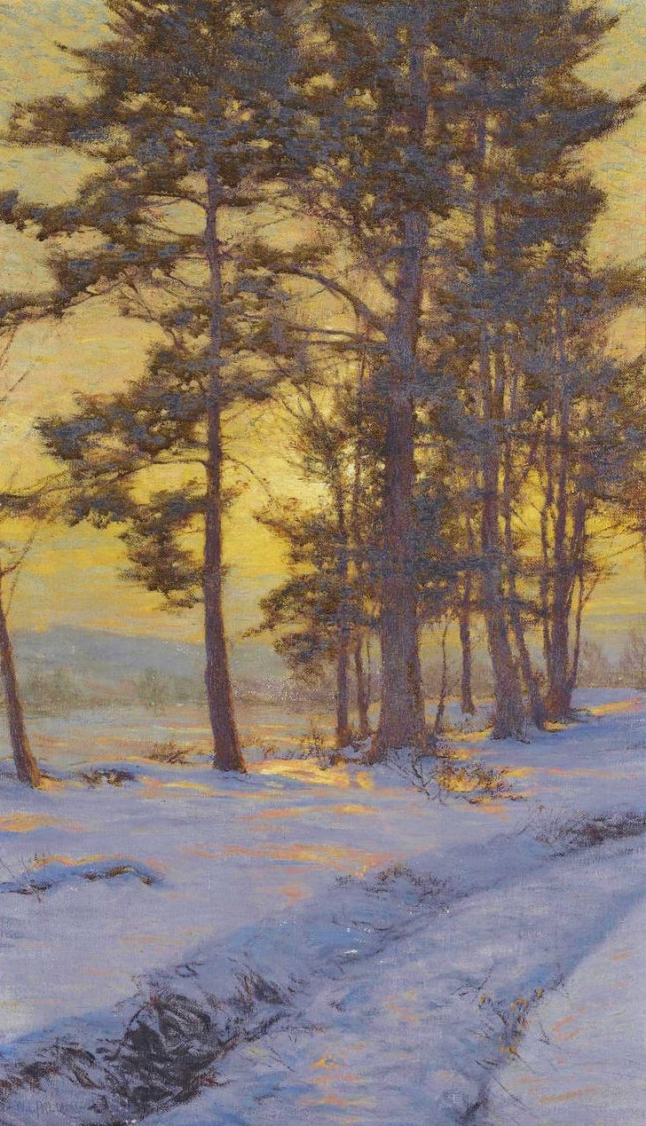 """Path Through the Snow Under Golden Skies"" by Walter Launt Palmer (1854-1932)"