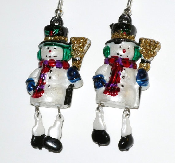 Fun  Snowman Earrings Christmas Dangling Snowman with by junquete, $10.00