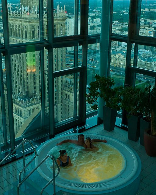 Intercontinental Warsaw – Here's the pool and Jacuzzi. Through the floor to ceiling glass you will be rewarded with one of the best night vi...