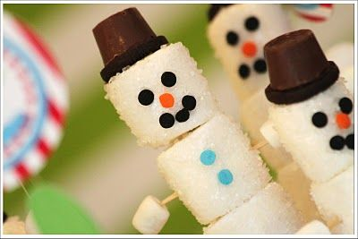 Sparkling Snowmen. Marshmallows rolled in sugar crystals with a Rolo tophat.