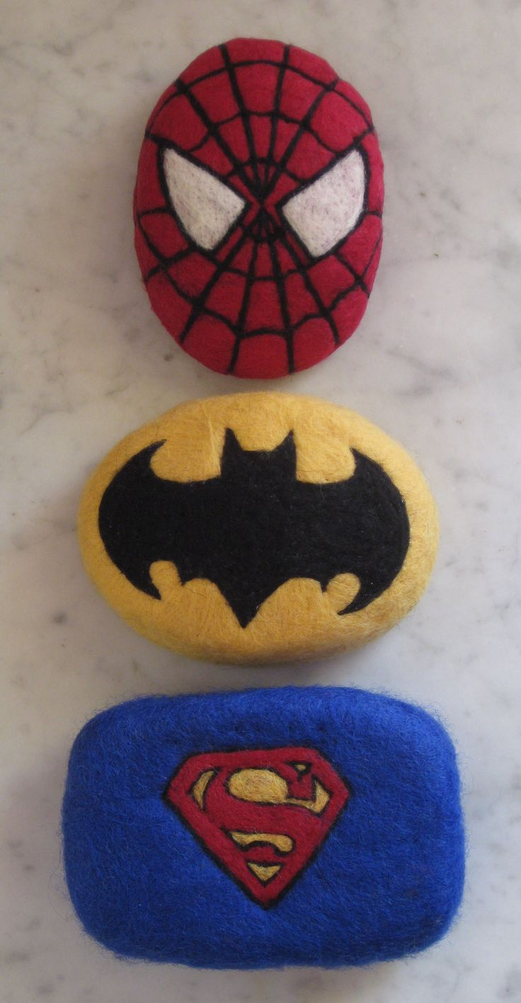 Needle felted superhero soap