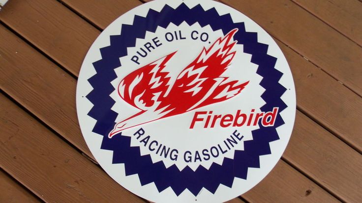 Pure Oil Co Firebird Racing Gasoline Large Sign Vintage