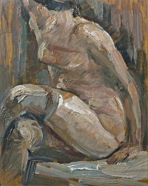 Donna seduta con sottoveste e calze, 1937, olio su tavola, cm 20,5x 6,5