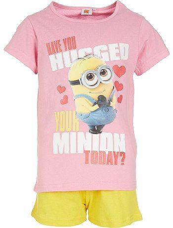 Korte pyjama van de 'Minions' roze/geel Kinderkleding meisjes