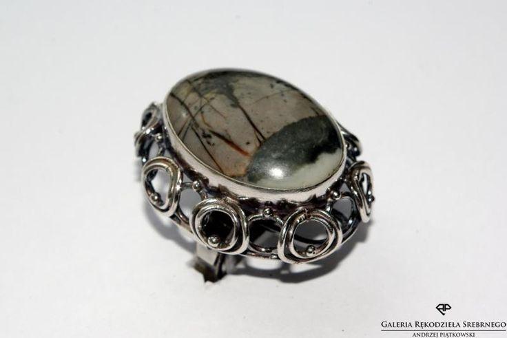 Srebrny pierścionek z jaspisem picasso