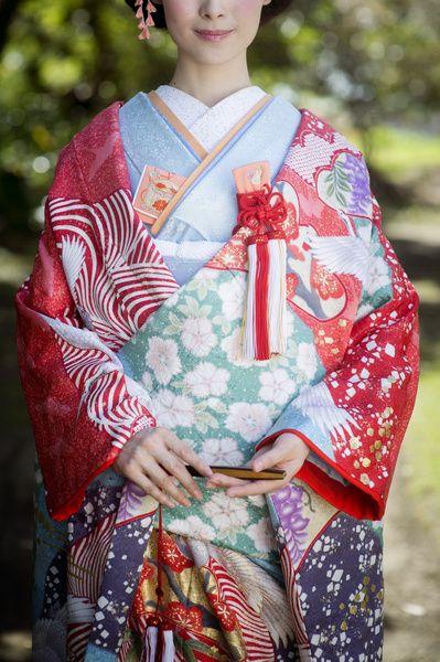 CUCURU 赤紅絞刺繍鶴