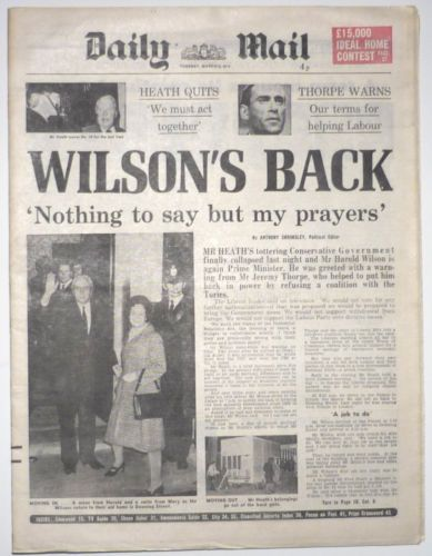 DAILY MAIL 5/3/1974 Harold Wilson Wins Election
