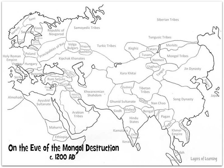 What did the world look like right before the Mongol hordes swept over Asia and Europe?  Here is a printable map to color and see.
