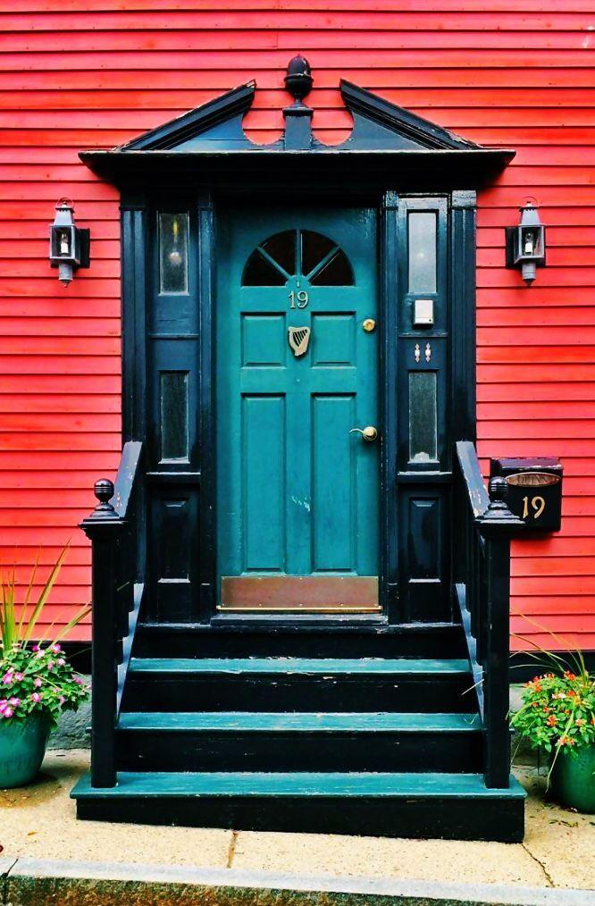 Teal and black door in Charlestown, Boston, Massachusetts.