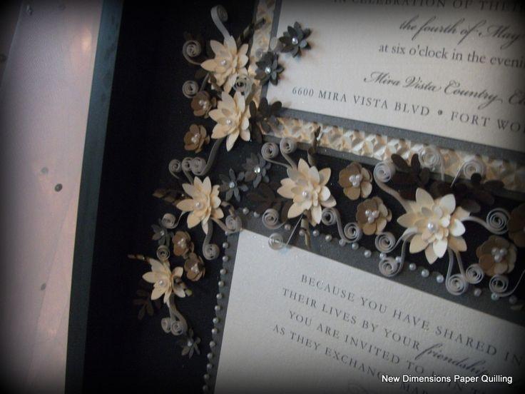 Detailed And Elegant Paper Quilling In Shades Of Ivory Mocha Embellish This Wedding Invitation Keepsake
