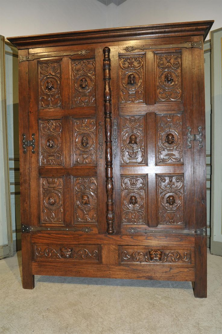 Turn of the century furniture - Antique French Gothic Cabinet Or Armoire In Oak Dating From The Turn Of The Century Interesting Model With 12 Carved Busts Of Subjects From The