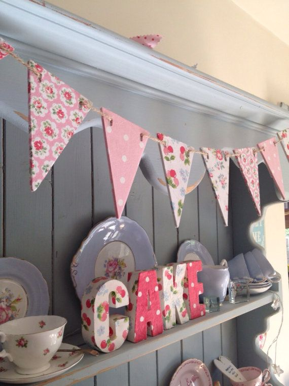 Wooden Cath Kidston Style Wooden Bunting by OllieandMoo on Etsy, £12.00