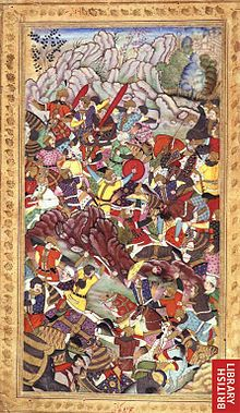"Battle of Panipat (1526) - Wikipedia, the free encyclopedia (""The battle of Panipat between the armies of Babur and Ibrahim Lodi (1526). An illustration to the Vaqi 'at-i Baburi, by Deo Gujarati, c.1590""* (BL)"