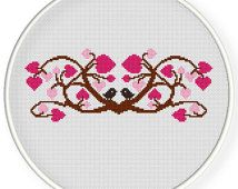 INSTANT DOWNLOAD,Free shippingCounted Cross stitch pattern,Cross-Stitch PDF,Love tree,love birds,valentine's day,wedding gift, zxxc0505