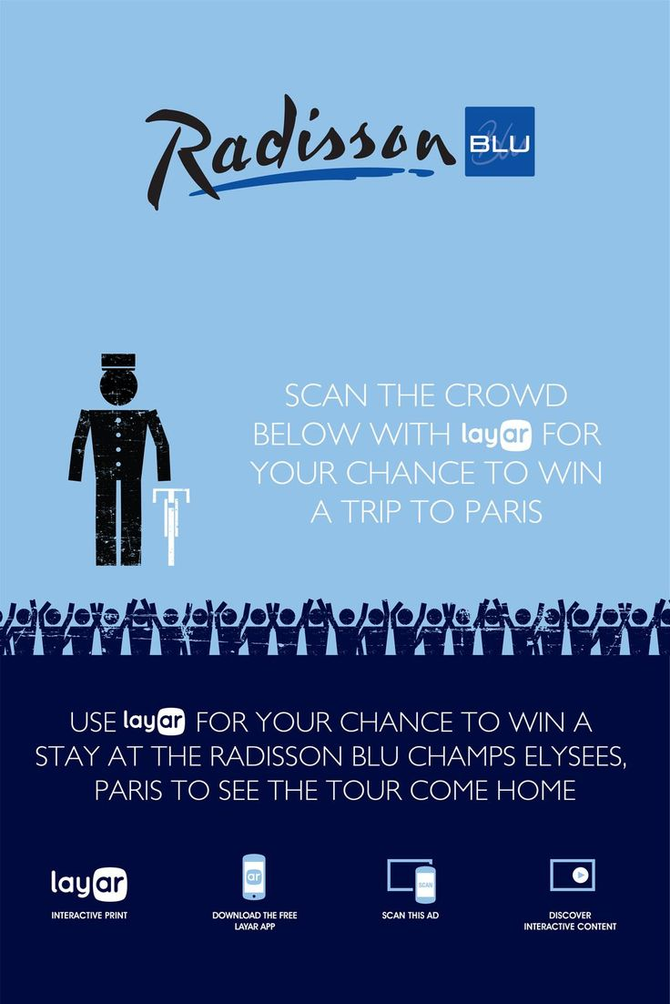 Agency @drumbeaters augmented a poster for @radissonblu using @Layar. Scan the poster with the Free Layar App to win a trip to Paris!