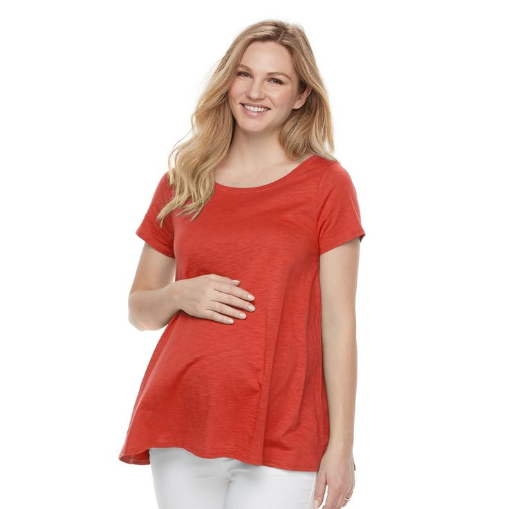 Maternity a:glow Solid Keyhole Tee, Women's, Size: Xxl-Mat, Orange