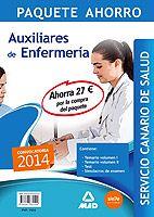 Paquete Ahorro de Preparación para Auxiliar de Enfermería del Servicio Canario de Salud. Contiene el temario volumen I, temario volumen II, test, y simulacros de examen.