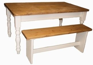 Waxed and painted pine farmhouse table made in Cornwall.