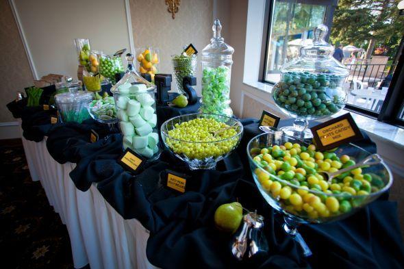 Diy Perfect Pair Candy Buffet Green Amp Yellow Wedding