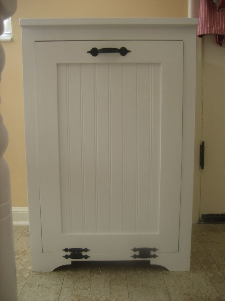 delightful Kitchen Cabinet Trash Bin #6: Tilt out wood trash can cabinet | Do It Yourself Home Projects from Ana  White