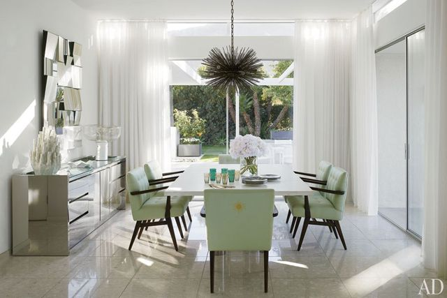 Sleek Lime Green Dining: Mid Century Modern, Modern Dining Rooms, California Home, Interiors Design, Beautiful Dining Rooms, Palms Spring, Pendants Lights, Emily Summer, Architecture Digest