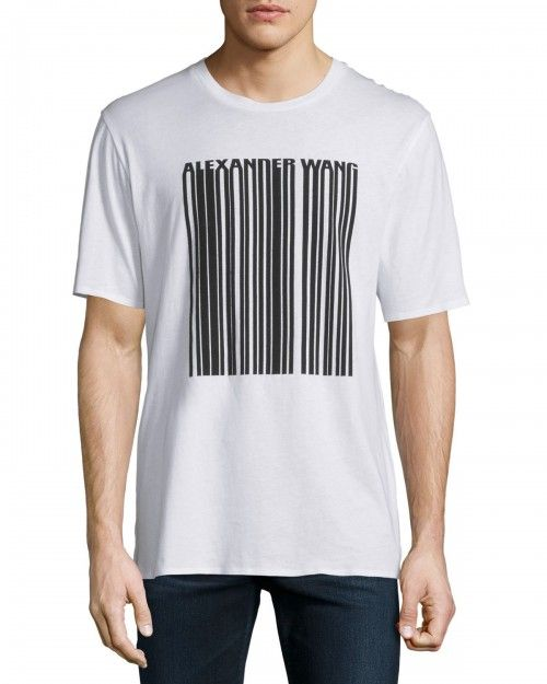 Alexander+Wang+Barcode+Logo+Short+Sleeve+Tshirt+White+44+T+Shirt+|+Shirts,+Tops+and+Clothing