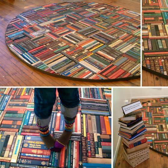 recycled book rug. I definitely need this in my house.