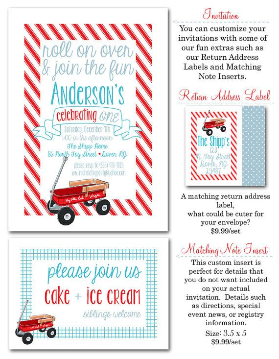 Red Wagon Party Invites  20 printed  envelopes by PARTYBOXDESIGN