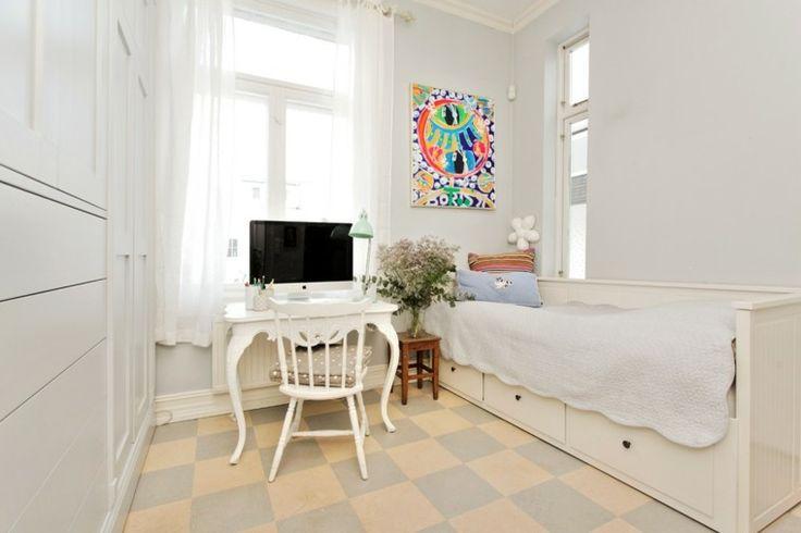 dormitorio color blanco escritorio retro