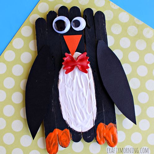 Make an adorable popsicle stick penguin craft wearing a bow tie! It's a great winter art project for kids to make.