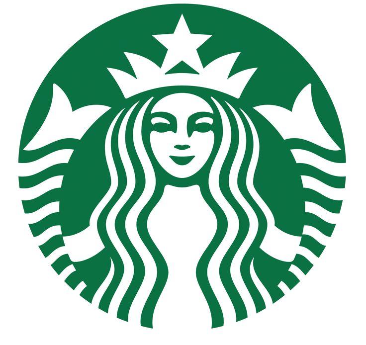"""Logo de la empresa  Starbucks.  """"Uno de los primeros requisitos de una  buena forma era precisamente el de la justa proporción y de la simetría. De ahí que el artista hiciera iguales los ojos (...), simétricos los ángulos de los labios curvados en la típica sonrisa vaga que caracteriza este tipo de estatuas. """"   Humberto Eco pag 73. Se observa el uso de los mismos recursos aplicados al cuerpo de una mujer, llevados desde una estatua a una imagen gráfica de baja iconicidad."""